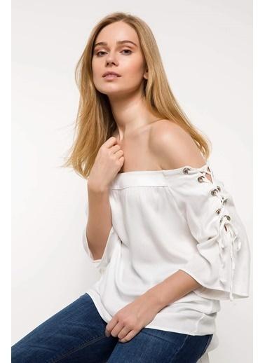 DeFacto Bağlama Detaylı Bluz Beyaz